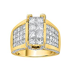 Round and Princess Cut Diamond Mens Ring in 10K Yellow Gold (3 cttw, G - H Color VSSI Clarity)