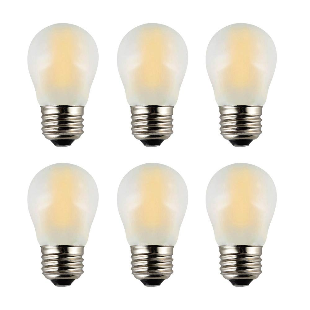 OPALRAY A15 Mini Globe Bulb with LED Filament, 2W Dimmable, 25 Watts Incandescent Replacement, E26 Medium Base, Small Size LED Bulbs, 200Lm Warm White Light(2700K), Frosted Glass Cover, 6 Pack