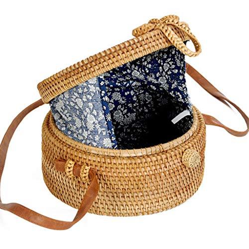 Women's Bag, Rattan Bag - Mesh - Open Beach Bag - Round Crossbody Bag - Lined - Vintage Floral Bag by BHM (Image #1)