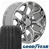 truck rims gmc sierra - 20x9 Wheels & Tires Fits GMC Chevy Trucks - GMC Sierra Style Chrome Rims, Hollander 5668 w/Goodyear Tires