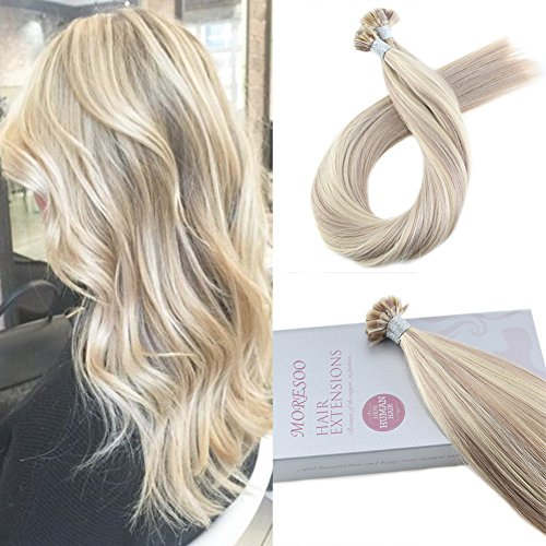 Moresoo 16 Inch Hair Extensions Fusion Flat-tip Human Hair Keratin Hair Extensions Color #18 Ash Blonde Highlighted with #613 Blonde Pre Bonded Remy Human Hair 1g/1s ()