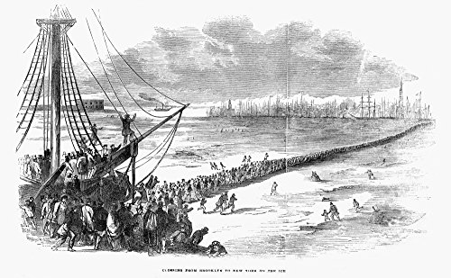 (Nyc East River 1852Nnew Yorkers Walking From Brooklyn To Manhattan On The Frozen East River During The Severe Winter Of Early 1852 Wood Engraving From A Contemporary American Newspaper Poster Print by)