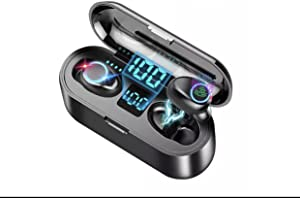 F9 Wireless Bluetooth 5.0 Earbuds IPX7 Waterproof Touch Control Wireless Bluetooth Headset with Microphone, Portable Charger, in Ear Deep Bass Built-in Mic Bluetooth Headphones.(Black)