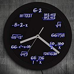 GZGJ Math Formula Pop Equation Neon Luminous Wall Clock Scicence Math Wall Clock Wall Watch with Color Changing for Math Lover