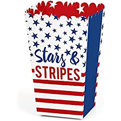 Stars & Stripes - 2018 Elections USA Patriotic Party Favor Popcorn Treat Boxes - Set of 12