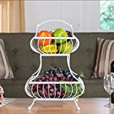 YANXH Fruit Basket Bowl 2 Tier High Capacity Stand Holder Storage Metal Fruit Basket, White