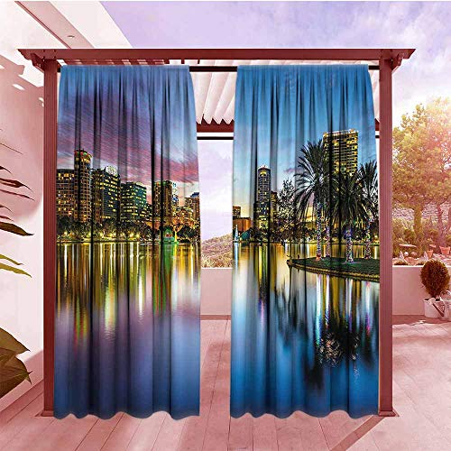 DGGO Thermal Insulated Blackout Curtains Wide Tap Famous USA Urban Downtown View of Orlando Florida from EOLA Lake Romantic Scene Hang with Rod Pocket/Clips W84x84L Blue -