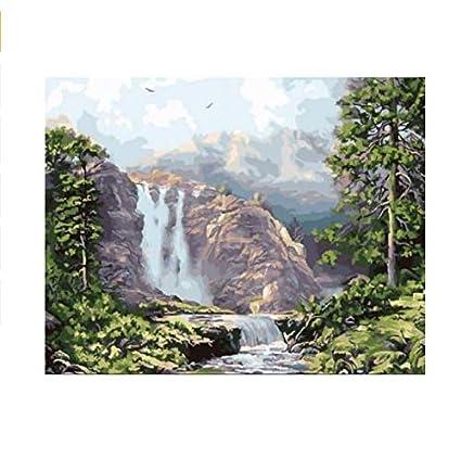 Yangll Rokot De La Cascada Para Colorear Por Números Lienzo