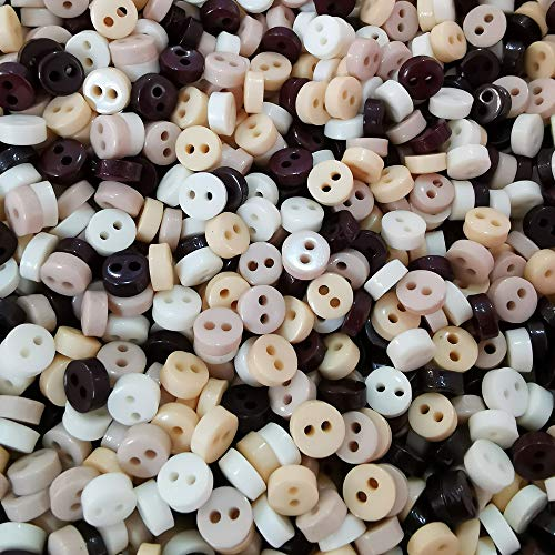 - 6mm Mini Buttons Tiny for Dolls Clothing Sewing Accessories DIY Crafts Scrapbooking Embellishments Mixed Natural Christmas Pastels Pack of 1000 (Natural Mixed)