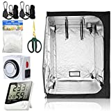 BloomGrow Hydroponics 60''x60''x80'' 600D Mylar Indoor Plant Grow Tent + Digital Hygrometer Indoor Thermometer Humidity Monitor + 24 hour Timer + 5'x15' Trellis netting + Bonsai Shears+ 1 Pair of Hanger Grow Tent Kit (60''x60''x80'' Kit)