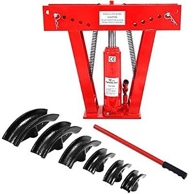 Goplus® 12 Ton Heavy Duty Hydraulic Pipe Bender Tubing Exhaust Tube Bending w/ 6 Dies