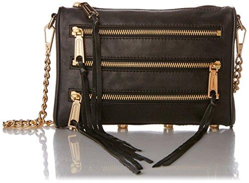 Rebecca Minkoff Mini 5-Zip Convertible Cross-Body Bag, Black,One Size from Rebecca Minkoff