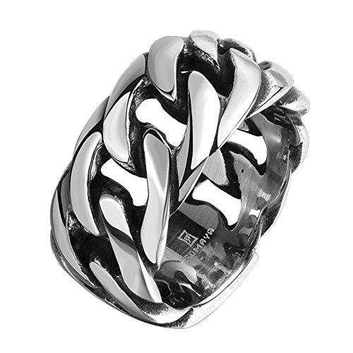 ROBBIE Jewelry 11M Men's 316L Stainless Steel Spinner Chain Ring Vintage Gothic Tribal Biker Silver Black (Tribal Ring Spinner Design Steel)