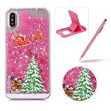 Liquid Case for iPhone XR,Clear Hard Cover for iPhone XR,Herzzer Stylish Luxury 3D Pink Glitters Flowing Stars Quicksand Bling Case with Carriage Christmas Tree Santa Claus Pattern