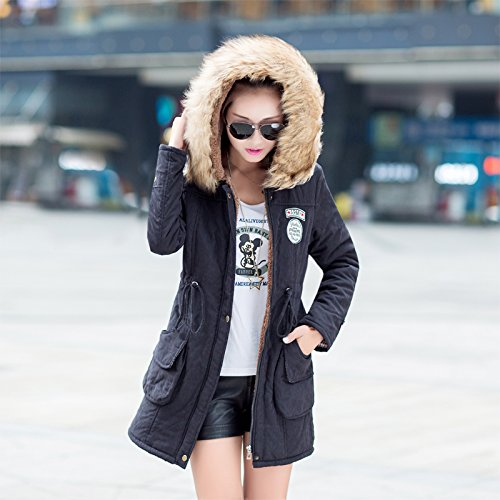 Aro Lora Women's Winter Warm Faux Fur Hooded Cotton-padded Coat Parka Long Jacket US 14 Black by Aro Lora (Image #4)
