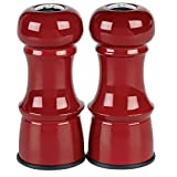 Trudeau 4 1/2-Inch Metal Salt and Pepper Shakers, Red