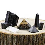 Beverly Oaks Charged Black Tourmaline Crystal Complete Kit - Tourmaline Stone EMF Protection Grounding - Three Raw Tourmaline Chunks, Orgonite Pyramid, Selenite, Gemstone Pyramid Obelisk