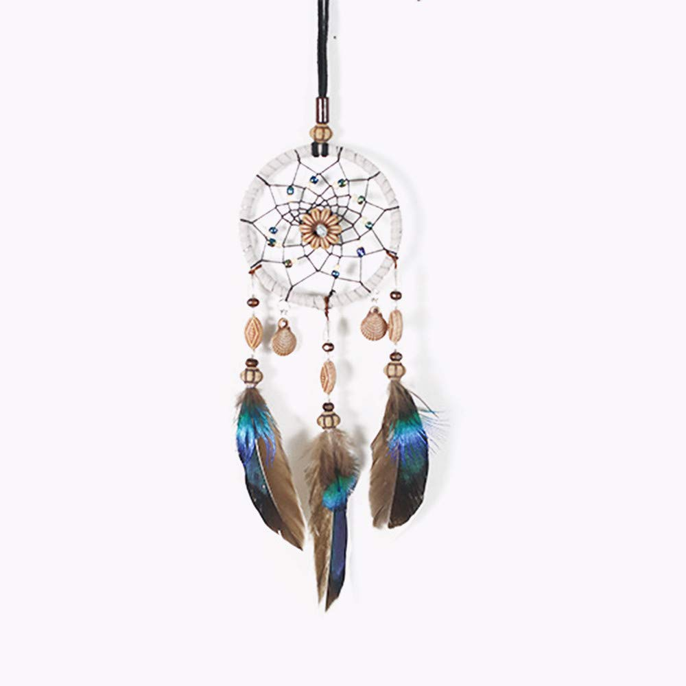 Tcplyn Premium Quality Mini Dream Catcher for Car Beaded Natural Feathers and Handmade