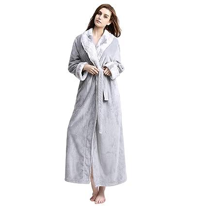 MERRYHE Vestidos De Gofre De Las Mujeres Franela Batas De Baño Largas Ducha del Hotel De