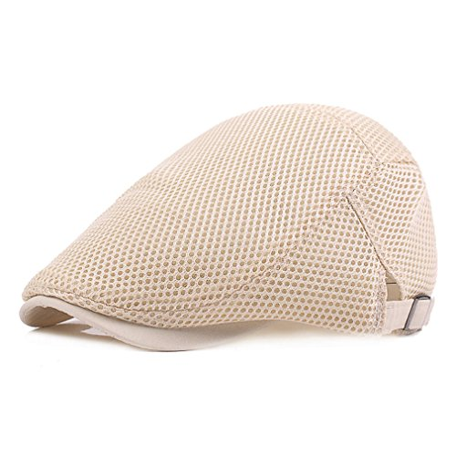 RICHTOER Men Breathable Mesh Summer Hat Newsboy Beret Ivy Cap Cabbie Flat Cap (Beige) (Hat Beige Mesh)