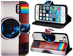 True Painting Insta Camera Pattern Faux Leather Flip Case with Mount Stand & Credit Card Slots for Iphone 5s/5