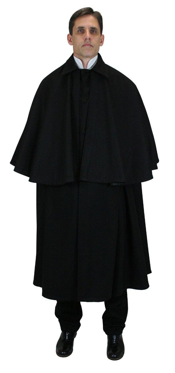 Historical Emporium Men's 100% Wool Inverness Dress Cape Black