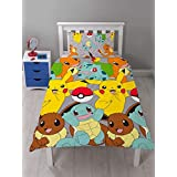 OFFICIAL LICENSED POKEMON PIKACHU CHARMANDER YELLOW BLUE GREY CANADIAN TWIN (COMFORTER COVER 135 X 200 - UK SINGLE) (PLAIN WHITE FITTED SHEET - 91 X 191CM + 25 - UK SINGLE) PLAIN WHITE HOUSEWIFE PILLOWCASES 5 PIECE BEDDING SET