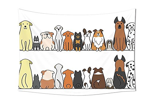 asddcdfdd Dog Lover Decor Tapestry Wall Hanging Multicultural Dog Family in a Row from Back and Front Views Companionship Comic Art Bedroom Living Room Dorm Decor Yellow Brown