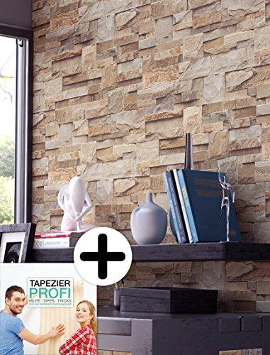Steintapete Vlies Braun Rot Edel | schöne edle Tapete im Steinmauer Design | moderne 3D Optik für Wohnzimmer, Schlafzimmer oder Küche inkl.Newroom-Tapezier-Profibroschüre mit Tipps für perfekte Wände