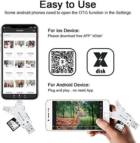 SD Card Reader for iPhone/ipad/Android/Mac/Computer/Camera,4 in1 Micro SD Card Reader Trail Camera Viewer, Portable Memory Card Reader SD Card Adapter Compatible with SD and TF Cards(White) 51VpkXSYbbL