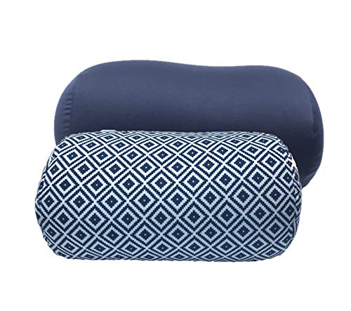Bookishbunny 2pk Micro Bead Bolster Tube Pillow Cushion for Car Sofa Bed Room Decoration, Back Neck Head Body Support - Squishy and Cool Fabric, Odorless, Hypoallergenic (Navy/Diamond)