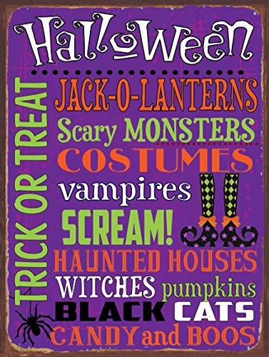 Halloween Words Subway Metal Sign, Autumn, Kitchen DéCor, Trick Or Treat, Fall, Harvest Novelty Wall Plaque Wall Art Decor Accessories Gifts ()