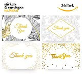 36 x Gold Foiled Thank You Cards by Ximmi Creations - Envelopes and Stickers Included
