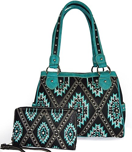 Montana West Concealed Carry, Studded Aztec 2-Zip Compartment Bag + Wallet -TQ