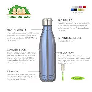 KING DO WAY Double Wall Vacuum Insulated Stainless Steel Water Bottle, 17 oz - Green
