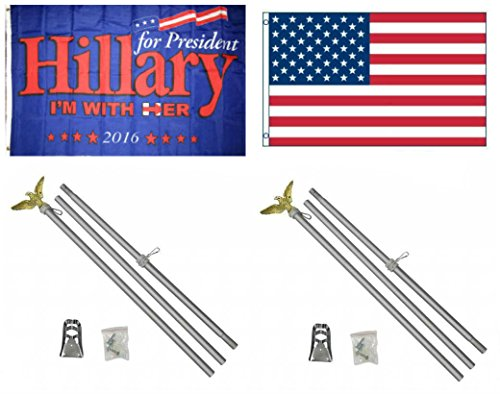 3x5 Hillary I'm With Her For President American Flag Aluminum Pole Kit Set 3'x5'