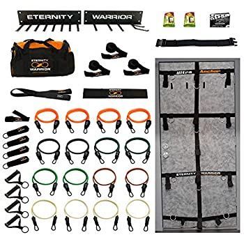 Image of Exercise Bands Bodylastics Bundle - 524 Beast! Complete 38 Pcs Resistance Bands Home Gym Set - Eternity Warrior Edition. Ultraanchor, Wall Rack, Upgraded Aluminum Clips, All Included!
