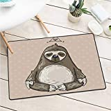 Custom&blanket Sloth Universal Door Mat Cartoon Sloth Meditates Lotus Position Relax Lifestyle Comic Inspirational Machine Washable Door Mat (W29.5 X L39.4 inch,Warm Taupe Sage Green)