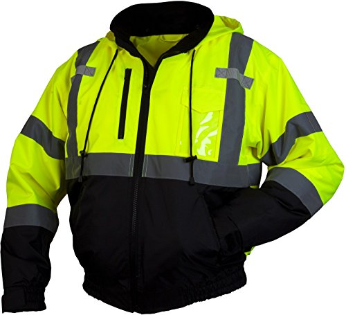 (Pyramex RJ31 Series Lumen X Class 3 Fleece Bomber Safety Jacket, Lime, X Large)