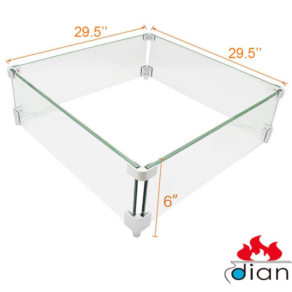 DIAN Outdoor Fire Pit Tempered Glass Wind Resistant Wind Screens Wind Guards Square 24x 24