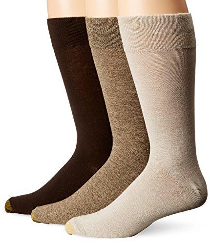 Gold Toe Men's Flat Knit Extended Socks, Loden Marl/Khaki Marl/Brown, Shoe Size: 12-16 (Pack of 3)
