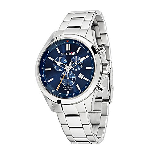 SECTOR Men's 180 Analog-Quartz Sport Watch with Stainless-Steel Strap, Silver, 18 (Model: R3273690009