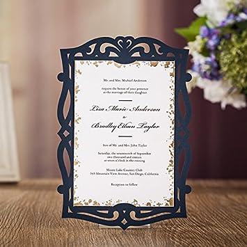 Amazon 100x wishmade navy blue party invitations holder laser 100x wishmade navy blue party invitations holder laser cut invitation card for wedding birthday baby shower stopboris Gallery