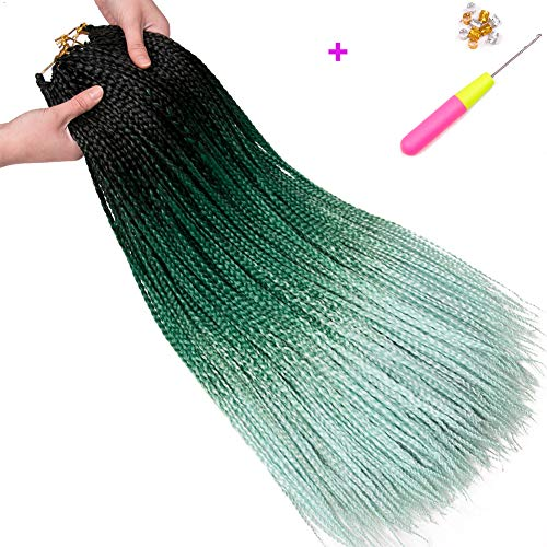 Geyashi Hair 24 Inch 6 Packs/Lot Senegalese Twist Box Braids Crochet Hair Extensions 100G/Pack Pre Looped 24 Strands/Pack (6Packs 3S 24 inch, 1B/Dark Green/Light Green)