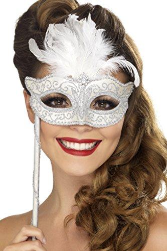 [Baroque Fantasy Eyemask Costume Accessory] (White Mardi Gras Mask)