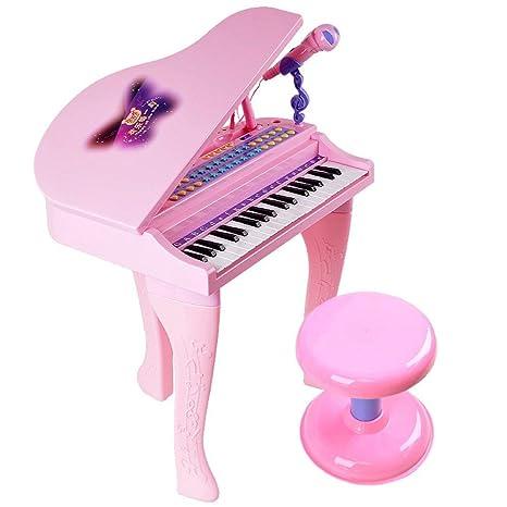 Gracioso Teclado para niños Teclado de Piano de 37 Teclas con micrófono Auriculares U Disco Rosa