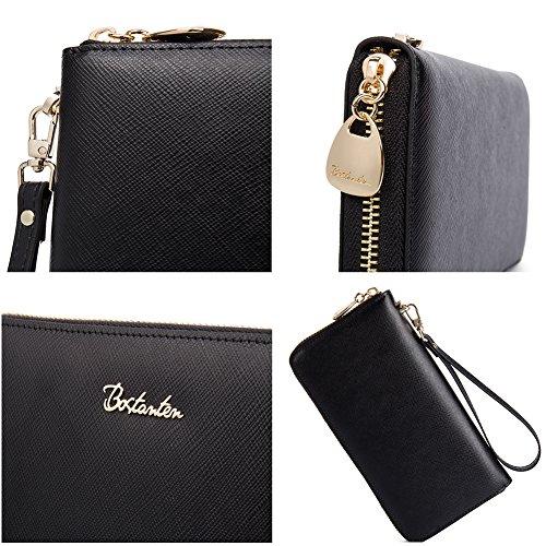 BOSTANTEN Women Leather Wallet Clutch Purses Card Cash Holder Long Wallets Black by BOSTANTEN (Image #4)