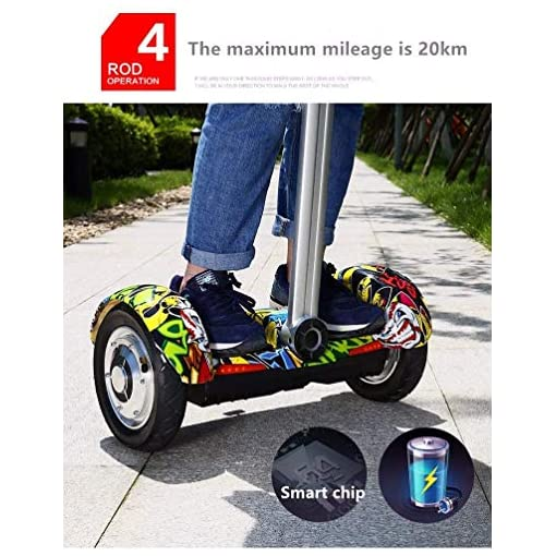 MUXIN Overboard Hover Scooter Board 10 Pouces, Self-Balance Board avec Roues LED Flash, Self-Balance Hoverboard Tout Terrains Scooter Electrique 700W, E-Scooter Auto-Équilibrage pour Enfant Et Adult