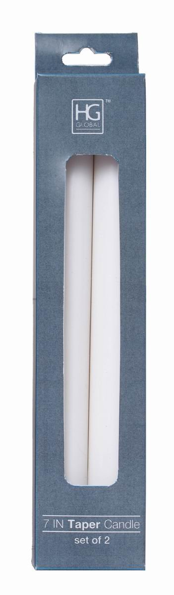 Hosley 8 Pack White Unscented Taper Candle- 7 High. Ideal for Wedding, Church, Vigil, Emergency Lanterns, Spa, Aromatherapy, Party, Reiki, Candle Garden. W1 HG Global