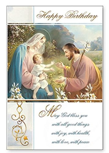 Happy Birthday Religious Card Holy Family Christian Catholic